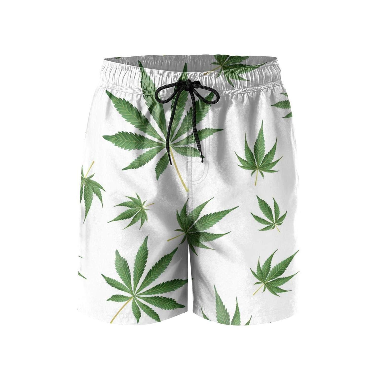 Cannabis Seeds Marijuanas Quick Dry Swim Mens Shorts Slim Fit Microfiber