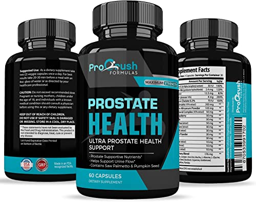 Prostate Support Health Supplement – Maximum Strength – Improves Bladder Discomfort and Urinary Tract Health for Men. Stop Frequent Urination. All Natural Clinically Proven Formula with Saw Palmetto.