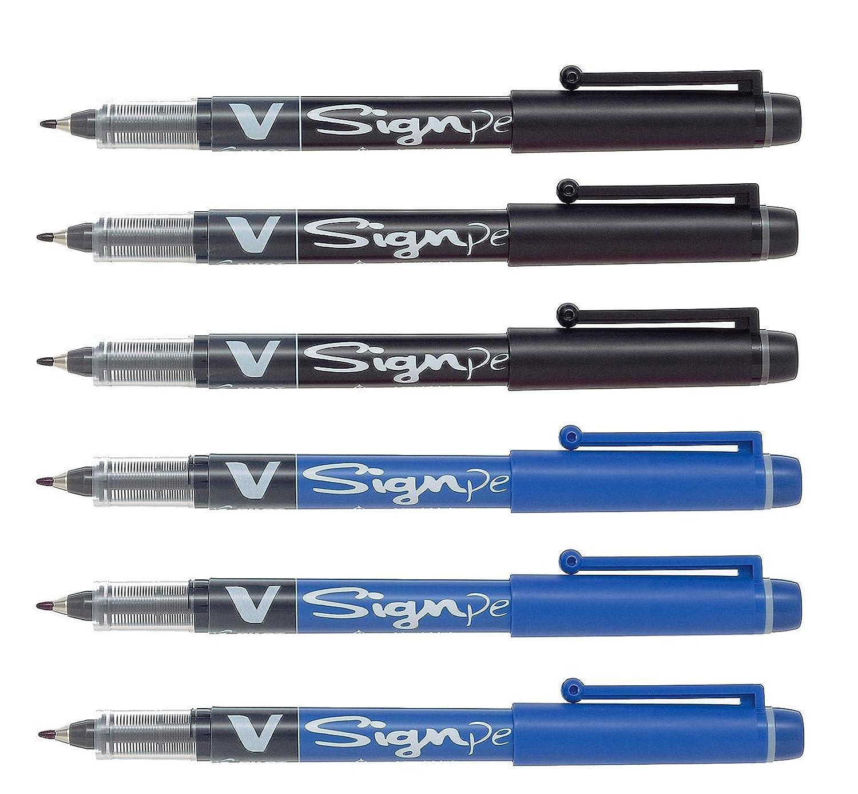 Pilot Pens V Sign Felt Tipped fineliner Pen, Medium Point, Black & Blue Bundle, 6 Pen
