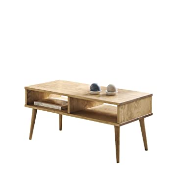 Hogar24 Table Basse Avec 2 Compartiments En Bois Massif Naturel