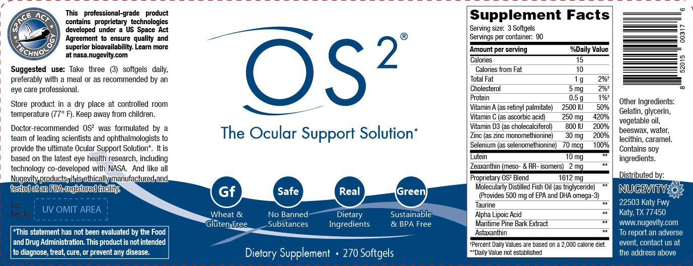 OS2 - The Ocular Support Solution Eye Health Nutritional Supplement 270 Softgels by Nugevity (Image #2)