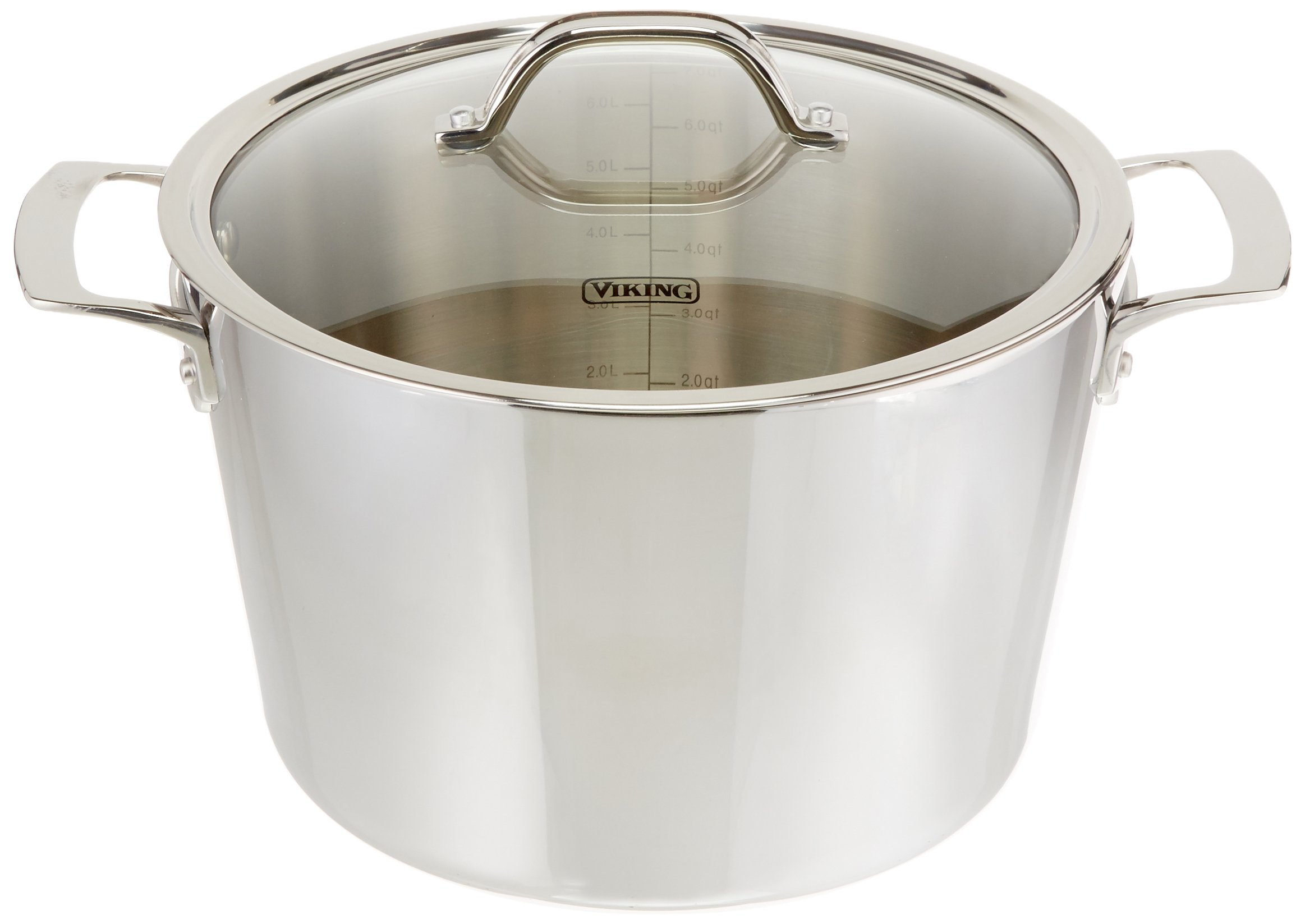 Viking Contemporary 3-Ply Stainless Steel Stockpot with Lid, 8 Quart