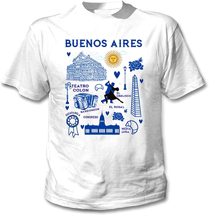 teesquare1st Buenos Aires Argentina Camiseta Blanca para Hombre de ...