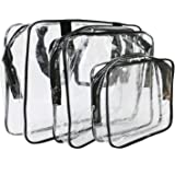 IDS 3 Pack Clear PVC Toiletry Bag Set with Zipper for Vacation, Bathroom, Storage (3 Sizes)