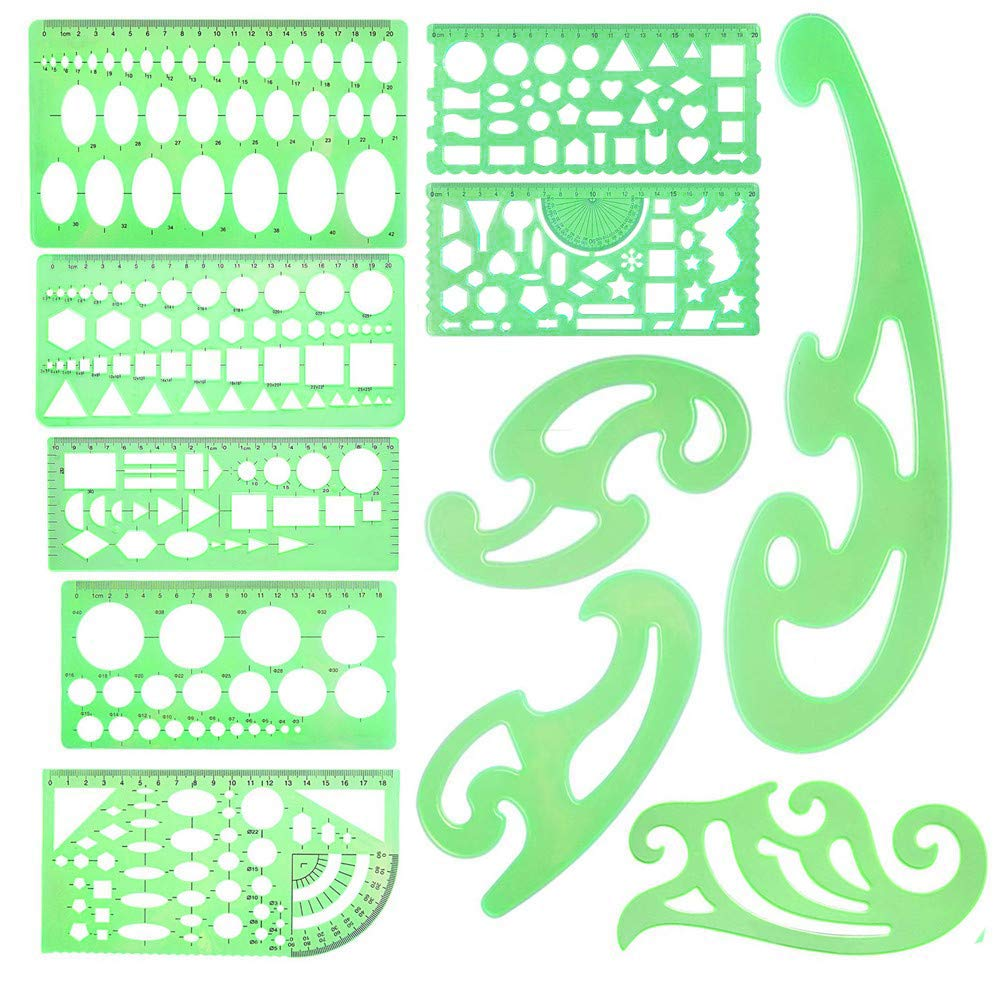 11 Pieces Drawings Templates French Curve Geometric Templates Measuring Rulers Clear Green Plastic Rulers for Engineering, Studying and Designing by Gooday