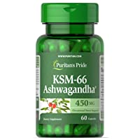 Ashwagandha KSM-66 by Puritan's Pride, Occasional Stress Support, 450mg, 60 Capsules (21655)