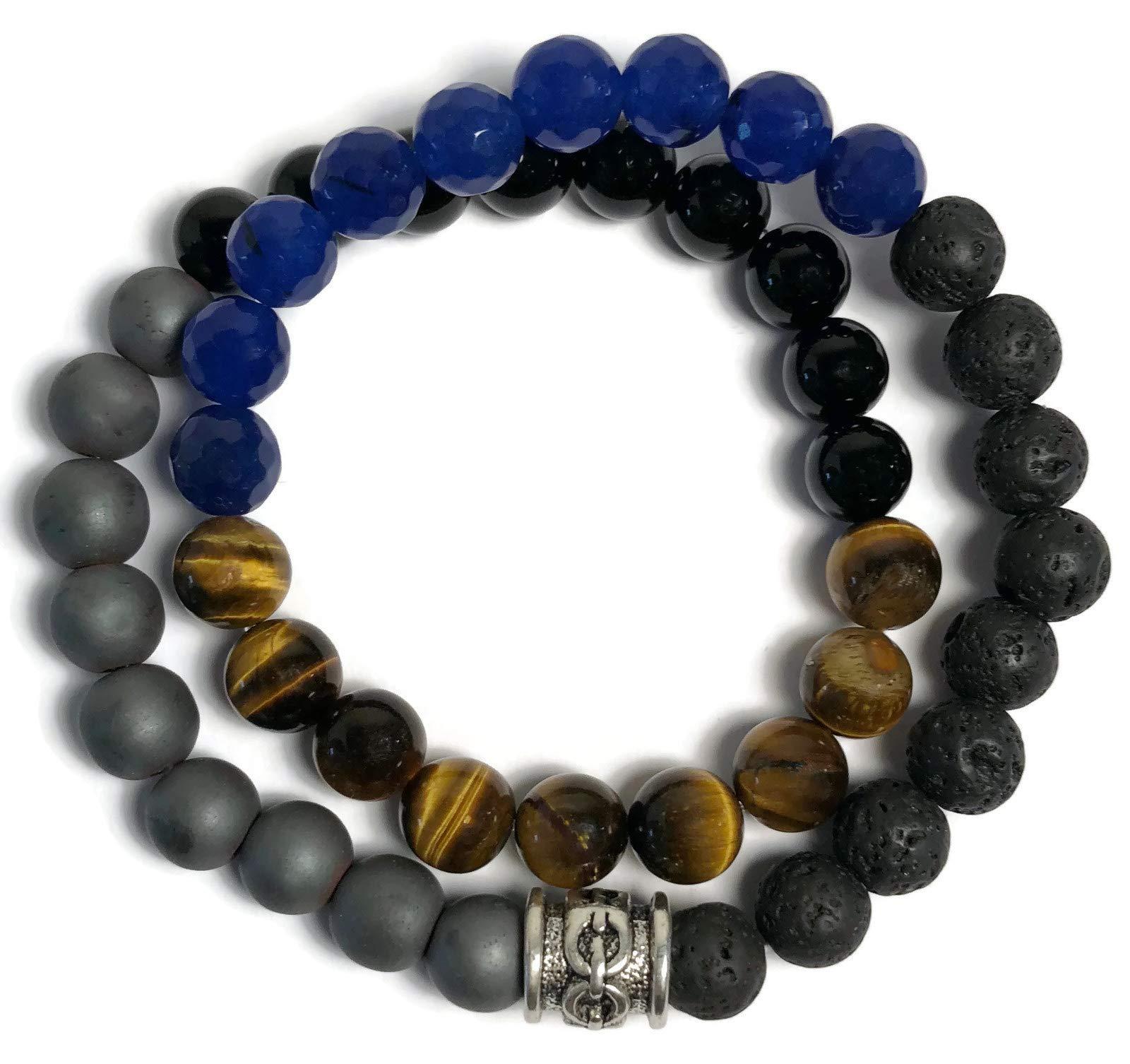 KarmaArm Success: Black Onyx | Hematite | Tigers Eye | Lava Stone | Sapphire Beaded Reiki Yoga Chakra Bracelet, Meditation Jewelry Boho Stretch Bracelets (7)