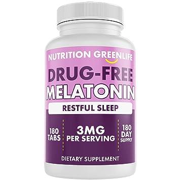 Amazon.com: Melatonin 3mg + Vitamin B6 by Nutrition Greenlife, 180 ...