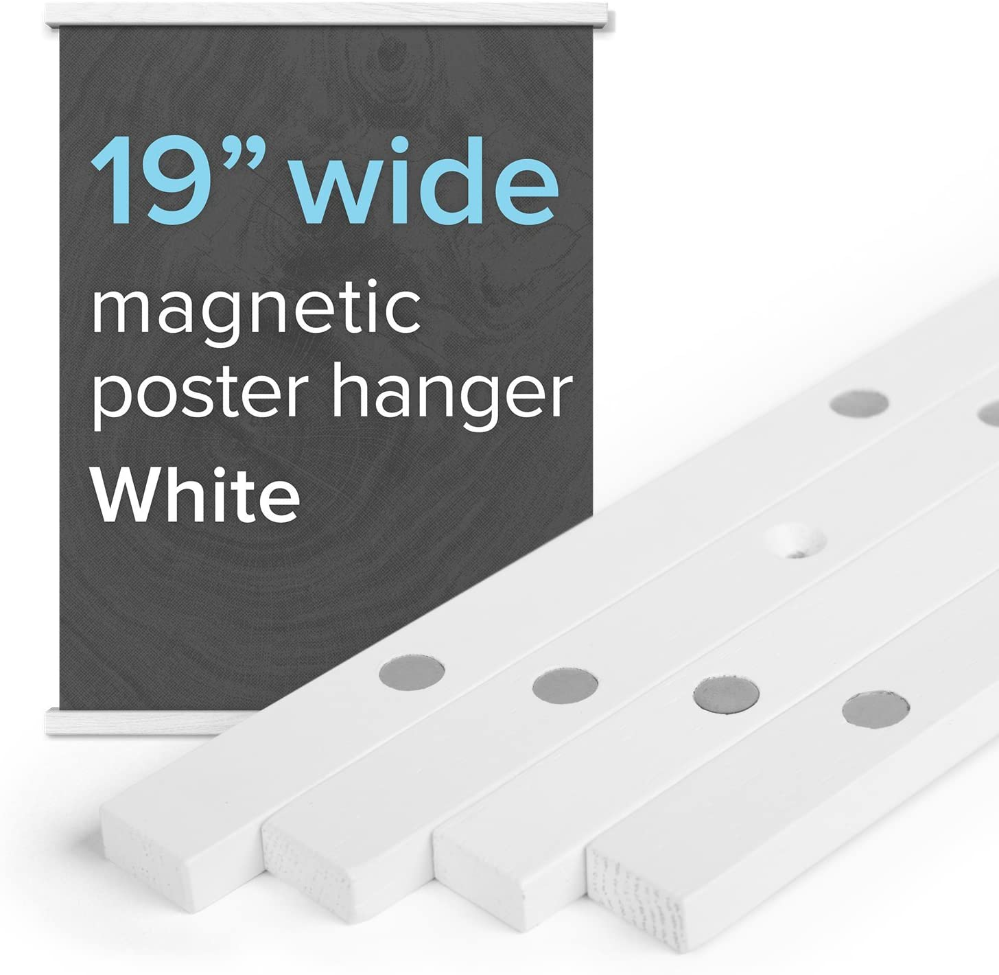 """19/"""" Wide Magnetic Poster Frame Hanger in White Solid Wood and Magnets Strong Enough to Hang Any Length"""