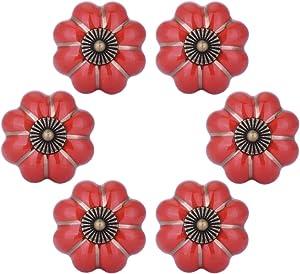 WOLFTEETH Red Pumpkin Knobs Vintage Ceramic Pulls Kitchen Cabinet Dressing Table Dresser Handle 6pcs