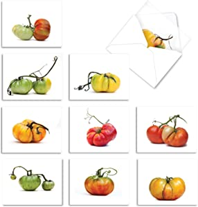 10 'You Say Tomato' Gratitude & Thank You Cards (w/Envelopes) - Tomato Plant Greeting Cards for Wedding, Baby Shower, Thanksgiving - Boxed All-Occasion Garden Stationery (4 x 5.12 Inch) M2365TYG