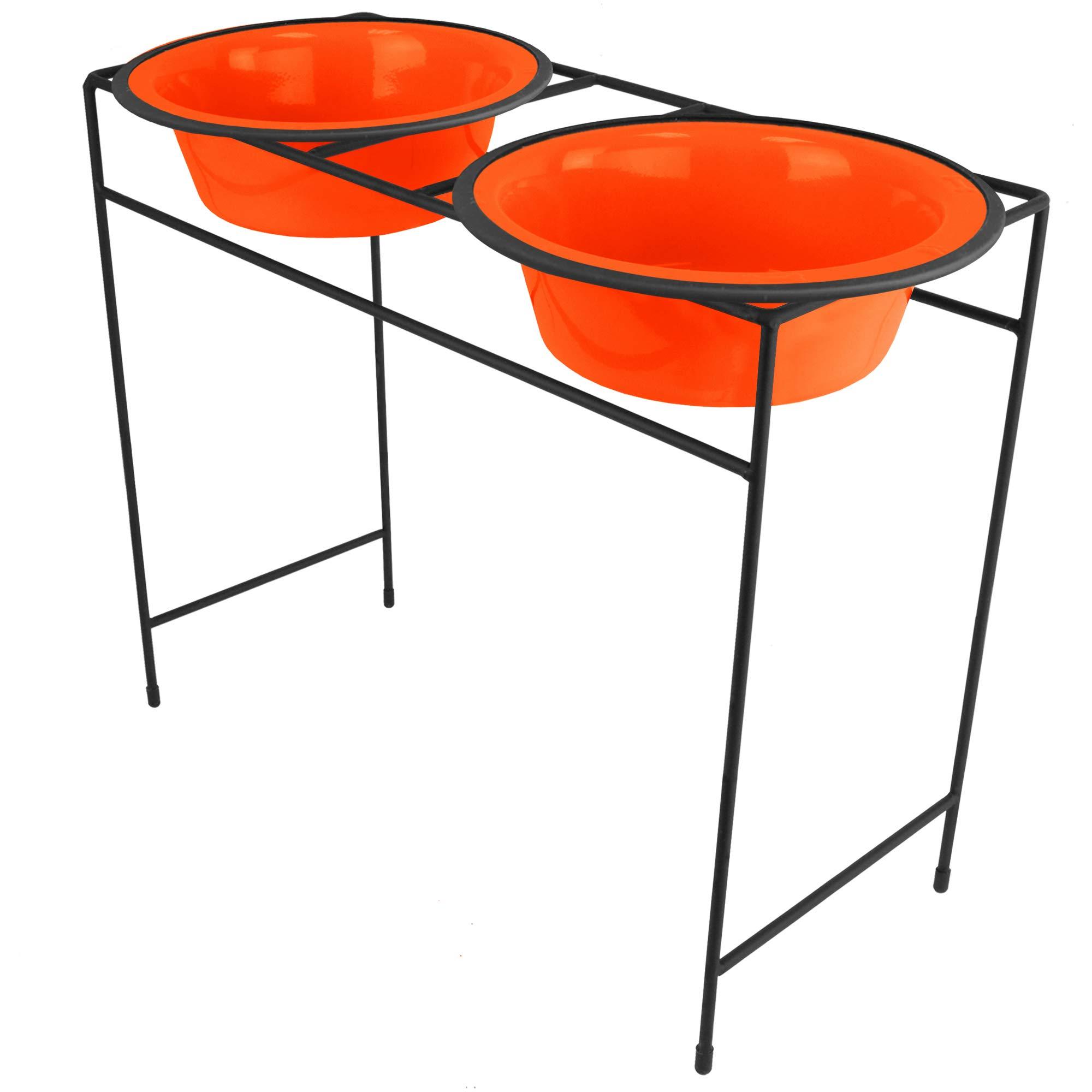 Platinum Pets 24800 Modern Double Diner Feeder, X-Large, Hunter Orange