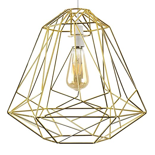 Large retro geometric style gold metal basket cage ceiling pendant large retro geometric style gold metal basket cage ceiling pendant light shade mozeypictures Image collections