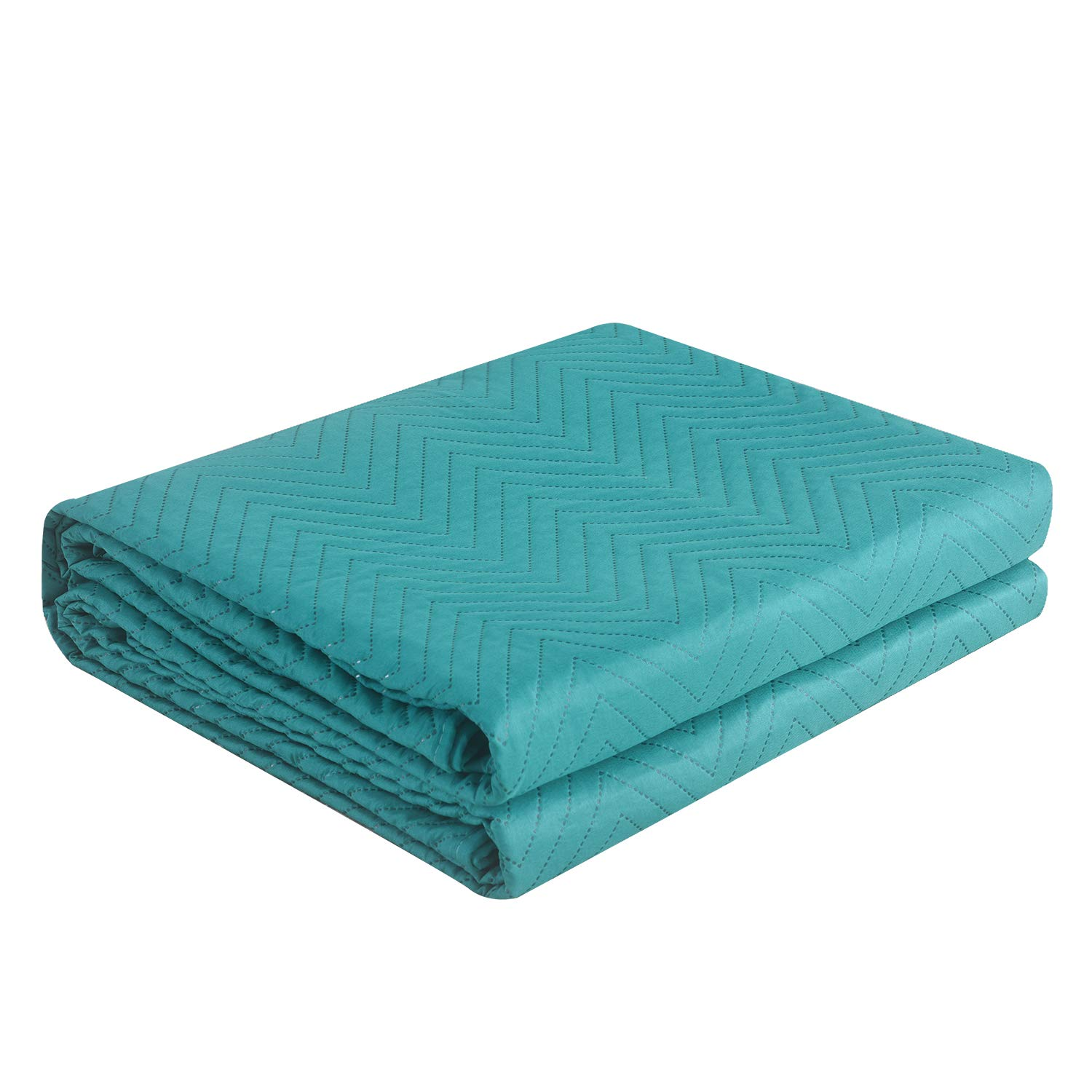 LITHER bedspreads Queen Size Oversized Quilt Coverlet Waved Pattern Solid Color(Teal, 86x96inch) Machine Washable