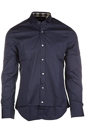 98203a275142 BURBERRY Shirt Blue at Amazon Men s Clothing store