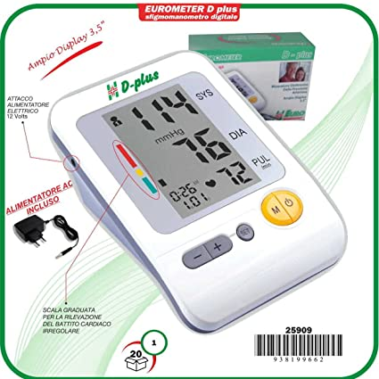 eurometer D + Color Tensiómetro aneroide Digital Profesional Con Alimentación Corriente Certificado y bolso).