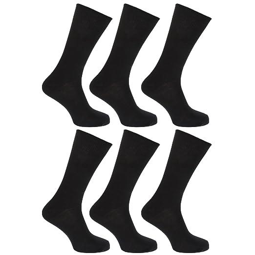 afe96e428 FLOSO Mens Plain 100% Cotton Socks (Pack Of 6) (US 7-12) (Black) at Amazon  Men's Clothing store: