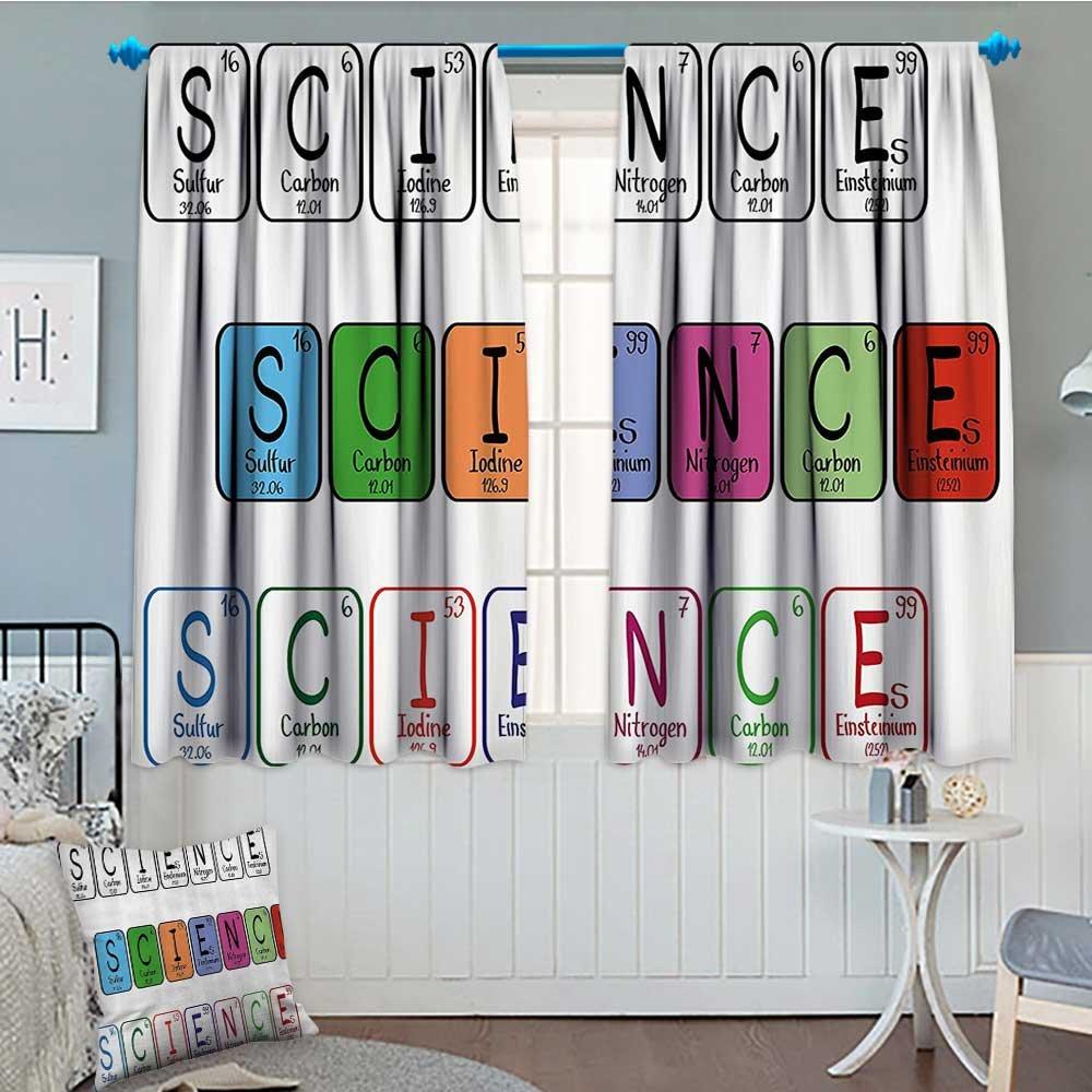 周期表熱絶縁ブラックアウトカーテン科学Freak Chemistry Loversカラフルな要素テーブルfor Fun LearningイメージPatternedドレープのガラスドア52