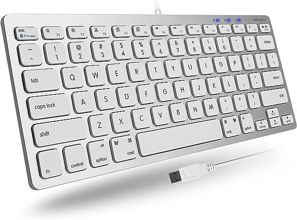 Macally SLIMKEYCA, teclado compacto USB-A para Mac, diseño de tapa de teclado QWERTY de EE.UU.