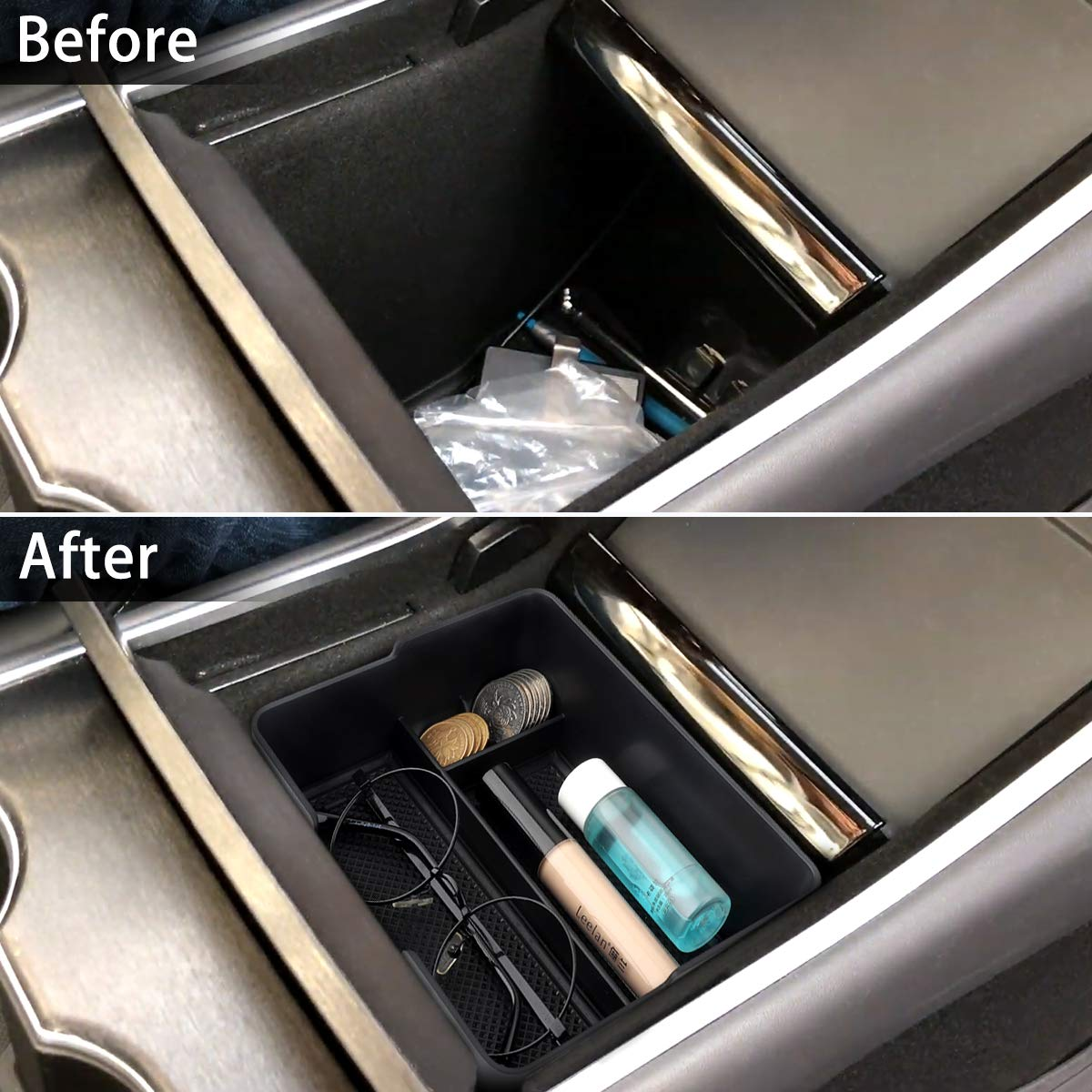 BASENOR Tesla Model 3 Center Console Organizer Tray Accessoies with Coin and Sunglass Holder for Tesla Model 3
