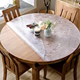 OstepDecor 1.5mm Thick Floral 36 Inches Round Table Cover, Water Resistant Non-Slip Vinyl Table Protector Circle Table Pad for Coffee, Glass, Dining Room Table