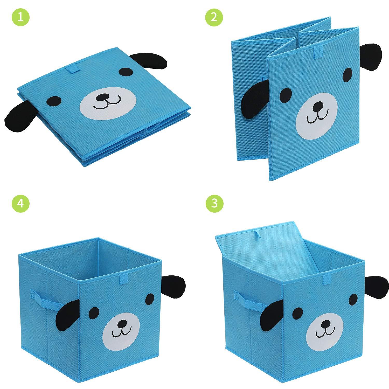cubo organizzatore Pieghevole Cesto Armadio homyfort Set di 4 Scatola di Giocattoli Cartoon Scatola Contenitore di immagazzinaggio per Bambini XDGOB04P Non Tessuto 4 Colori 30 x 30 x 30 cm