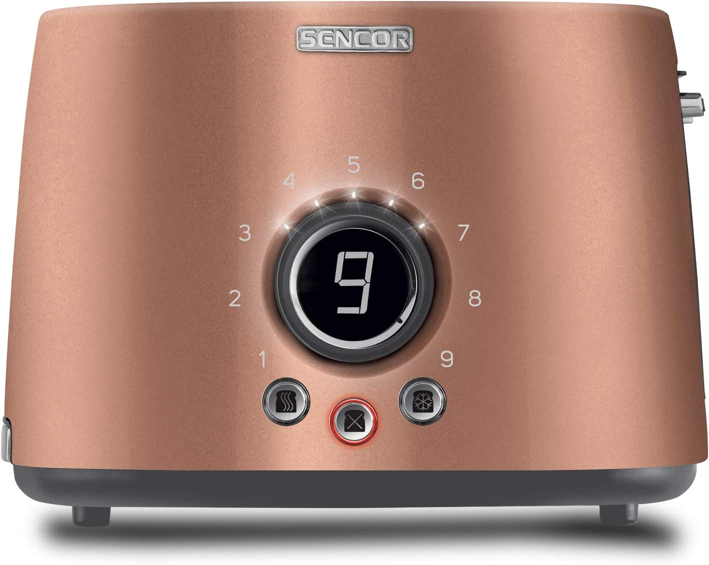 Sencor STS6056GD Premium Metallic 2-slot High Lift Toaster with Digital Button and Toaster Rack, Gold