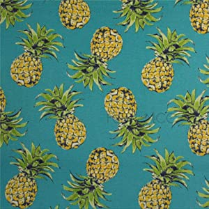 Bruyu5se Decorative Tile Stickers Set, Pineapple Teal Fabric 4 x 4 Inch Peel & Stick Vinyl Tiles Floor Decal, 12 Units Waterproof Vinyl Wall Tiles Sticker for Home Decor