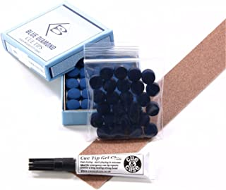 25 X 11mm Leather Blue Diamond Snooker Pool Cue Tips by Blue Diamond