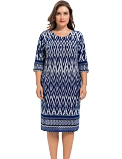 4f1c594bc2d Chicwe Women s Plus Size Stretch Zigzag Printed Cashmere Touch Shift Dress  - Knee Length Casual and