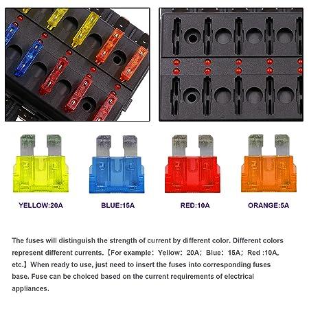XCSOURCE Caja de fusibles Blade de 6 vías, bloques de fusibles ATO/ATC, fusible incluido con indicador LED para fusible fundido para automoción MA1358: ...