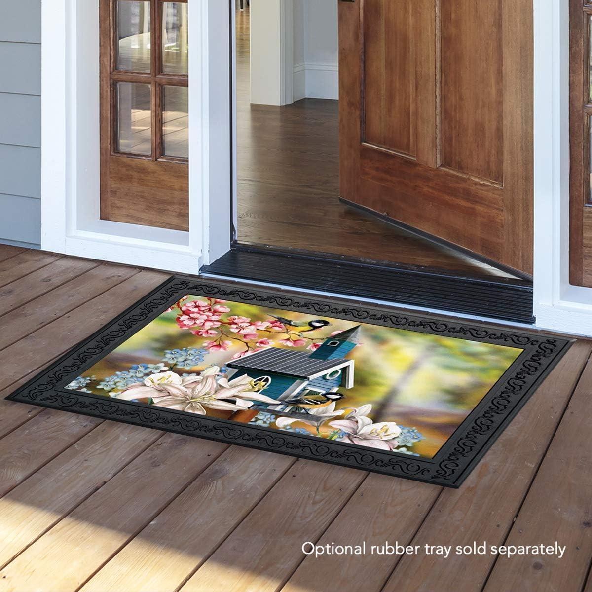 Briarwood Lane Peaceful Birdhouse Spring Doormat Floral Indoor Outdoor 18 x 30