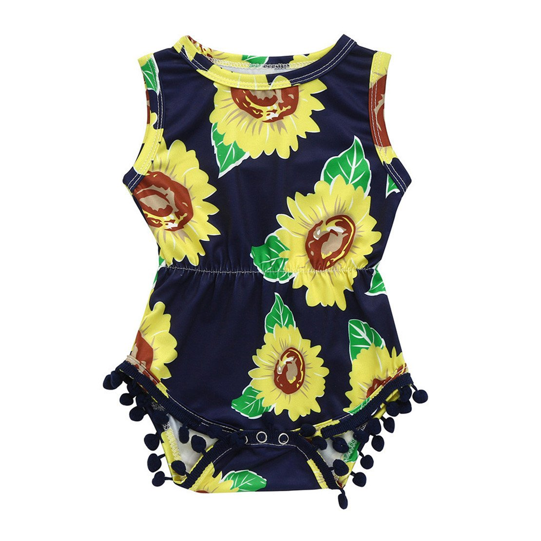 03c86e93c9d Amazon.com  ZHANGVIP Infant Toddler Kids Baby Girls Sunflower Printed Romper  Sleeveless Jumpsuit Playsuit  Clothing