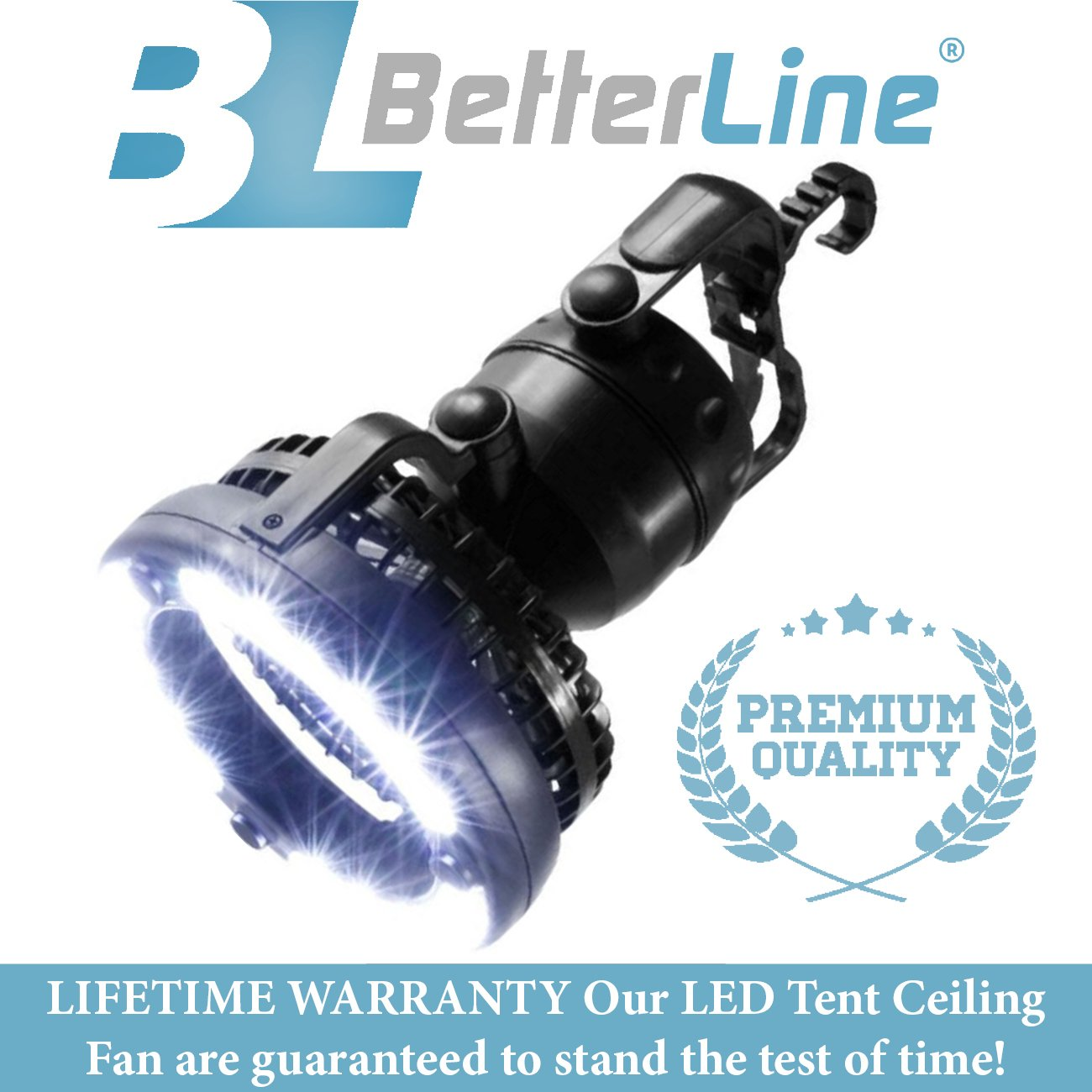 BETTERLINE Happy Camper 2-in-1 LED Tent Ceiling Fan - Works as a Flashlight Lantern & Cooling Fan for Camping, Premium Materials and a Unique Designed