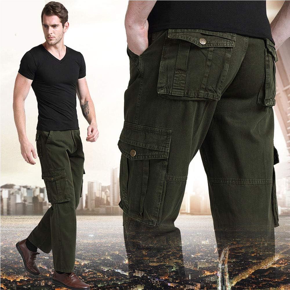 BOZEVON Training Pants Autumn and Winter Work Pants Mens Loose Military Pants