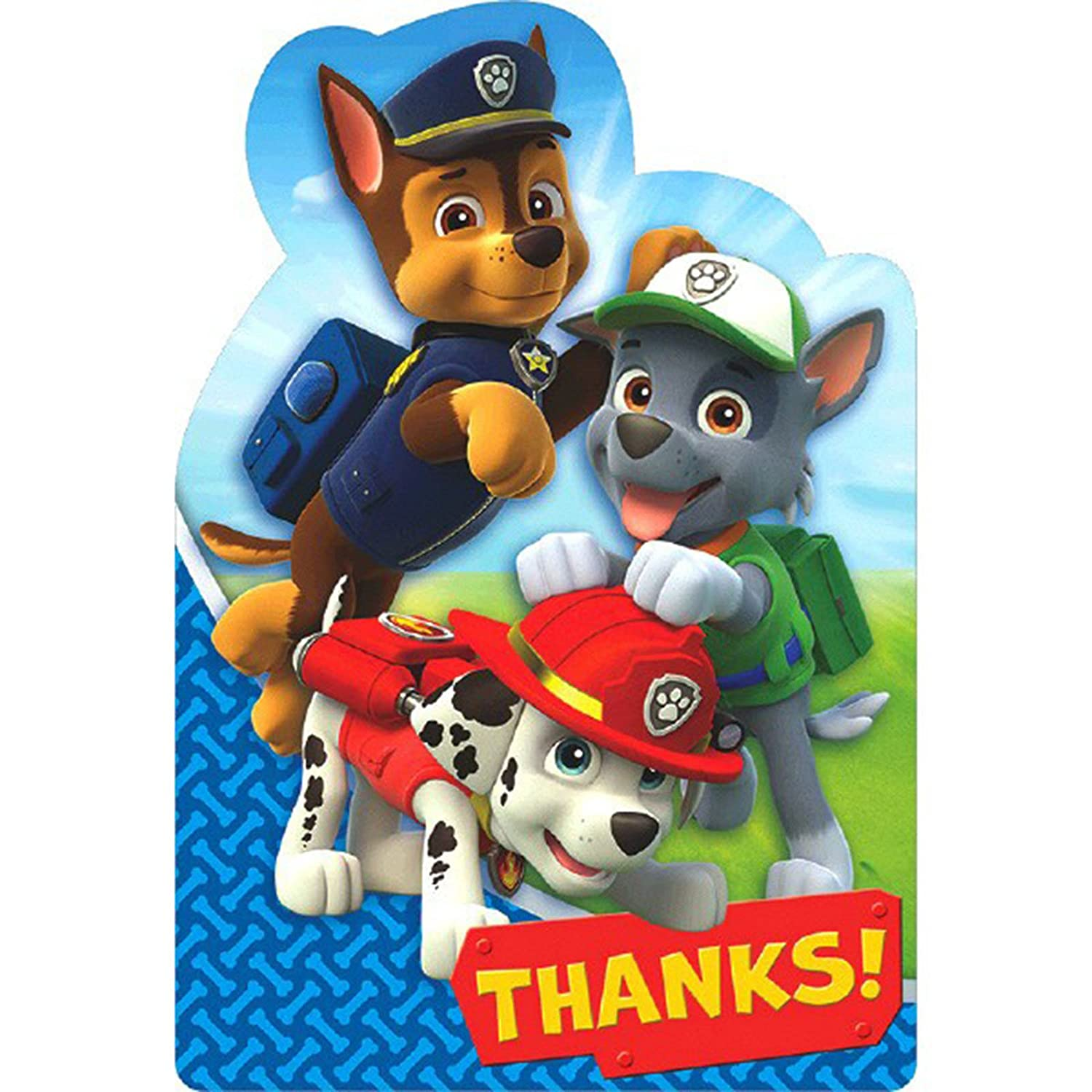 8 Paw Patrol Postcard Party Thank You Cards Partyrama 481462AMS-PP-A