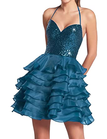 AiniDress Homecoming Dresses Short Organza Halter Sequin Cocktail Party Prom Dresses Blue Size 10