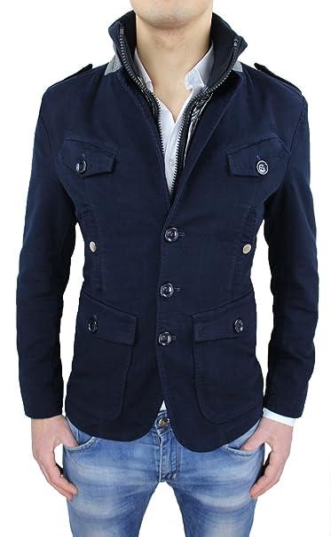 Cappotto Giacca Uomo Blu Slim Fit Casual Invernale Giubbotto Giaccone  Foderato con Gilet Interno  Amazon.it  Abbigliamento 2826475be1c