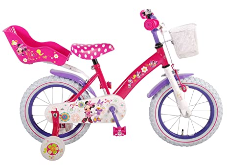 Bicicletta Bambina Disney Minnie 14 Pollici Ruotine Cestino Anni