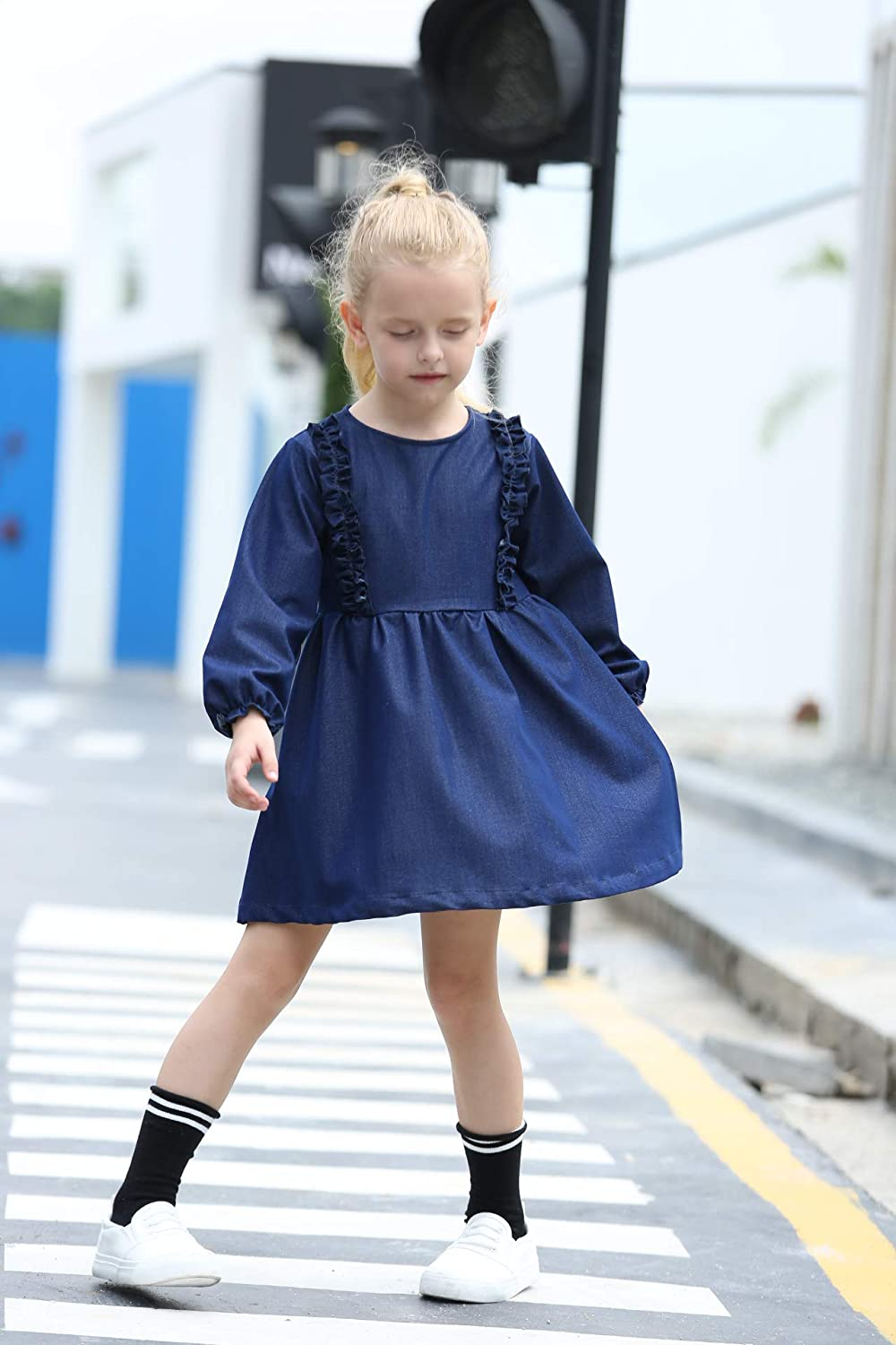 Toddler Dress for Girls Long Sleeve Cotton Princess Casual Ruffle Frock