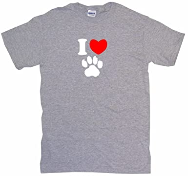 92546f6bb040 Amazon.com: 99 Volts I Heart Love Dog Paw Print Logo Men's Tee Shirt ...