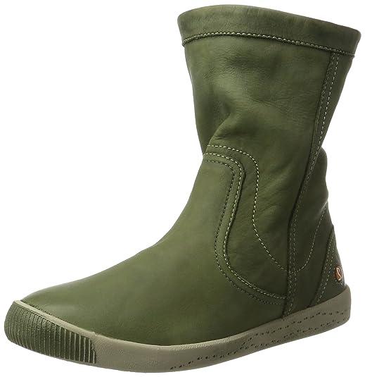 Imi412sof Washed - Botas Plisadas Mujer, Color Verde, Talla 42 EU Softinos