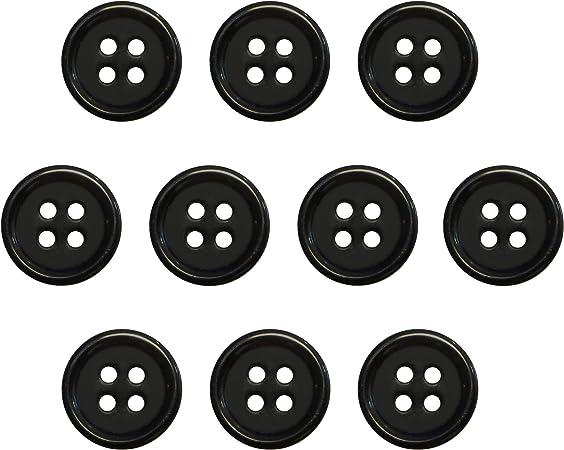Seeking ROAM Buttons 4 Hole, 1/2 Inch, Resin, 10 Pieces, Black (Black)