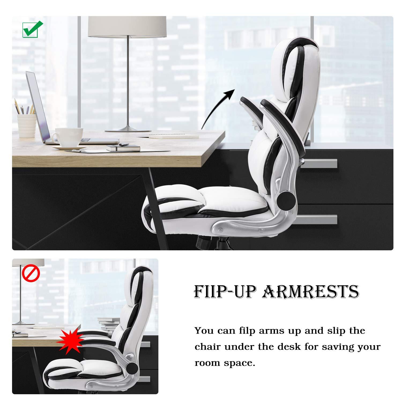 YAMASORO Ergonomisk hög rygg kontorsstol, bekväm och hållbar dator skrivbordsstol med uppfällbart armar och ryggstöd (svart) Vitt