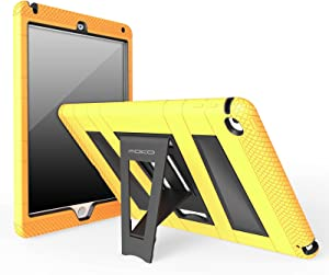 """MoKo Case Fit iPad Air 2 - [Kickstand] Durable Hybrid Silicone + Hard Polycarbonate Kid Proof, Shock-Absorption with Foldable Stand Cover Fit iPad Air 2 9.7"""" 2014 Released Tablet, Yellow"""