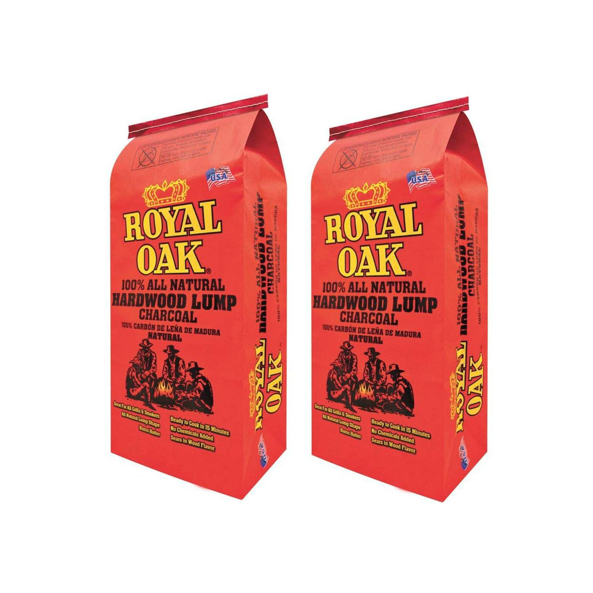 Royal Oak BBQ All Natural Premium 8 Pound Bag Lump Charcoal Starter Hardwood (2 Pack)