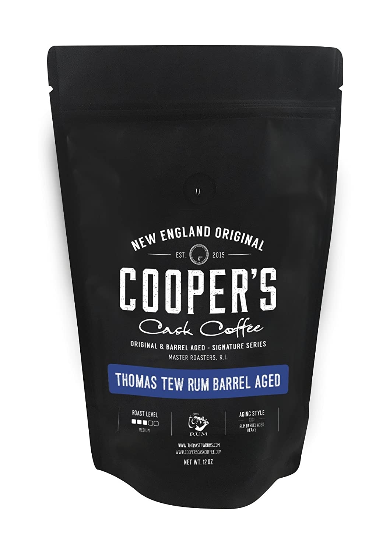 Rum Barrel Aged Coffee - Single Origin Rwanda Coffee Beans Aged in Thomas Tew RUM Barrels - 12 oz Bags, Whole Coffee Bean