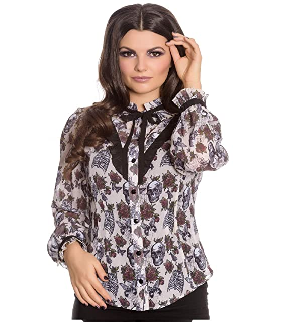 SPIN DOCTOR AFTER DEATH by HELL BUNNY SKULL ALTERNATIVE goth CHIFFON BLOUSE