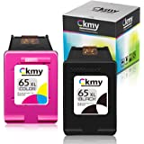 CKMY Remanufactured 65XL Ink Cartridge Replacement for HP 65 (1 Black & 1 TriColor) for Envy 5052 5055 5012 5010 5020 5030 De