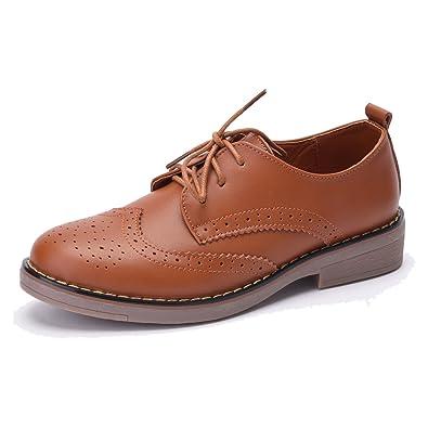 8eb6a9ab31315 Women s Leather Lace Up Oxfords Wingtip Brogue Shoes (6 D(M) US